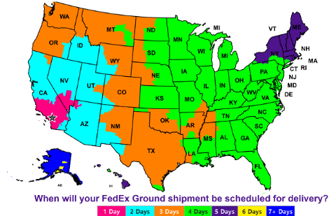Fedex Zones Map Us FedEx Ground Time in Transit Map / Zone Map : ELEVATE FULFILLMENT