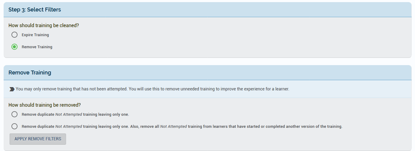 The Remove Training option selected and a new set of options made available to clarify what should be removed.