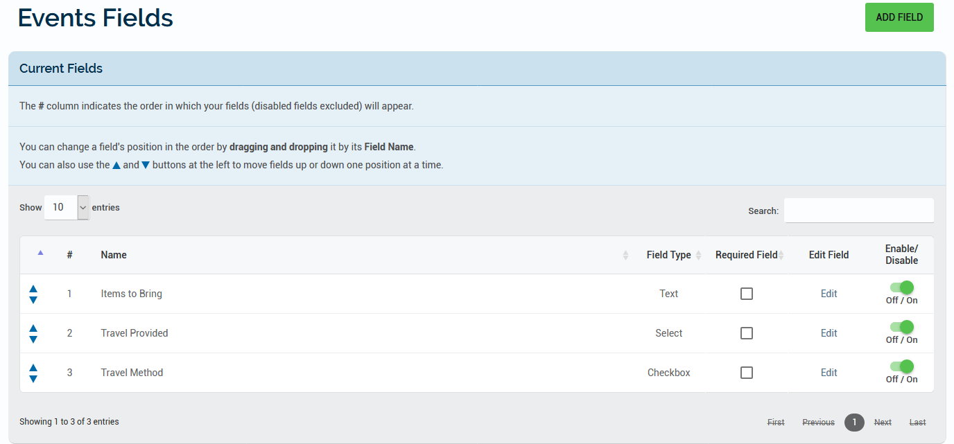 Screenshot of the Event Fields interface displaying three fields that currently exist for the site.