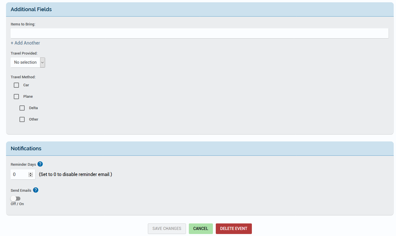 Displaying the three custom Additional Fields on the Add Event page.
