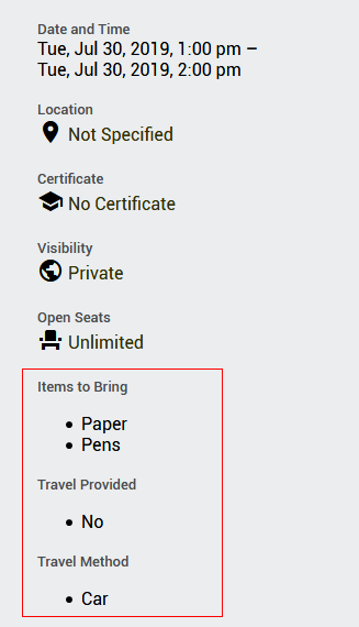 The updated Event Details interface displaying the entered additional Fields for the events.