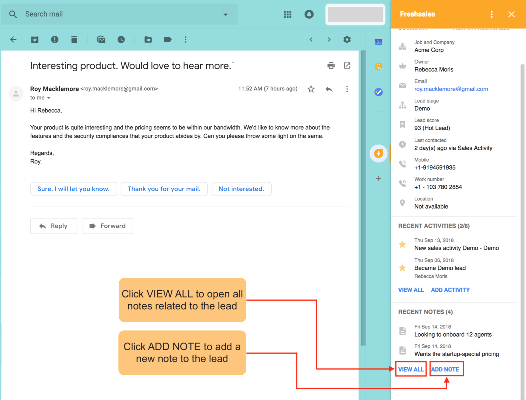 How to use Freshsales' Gmail Add-on? : Freshsales