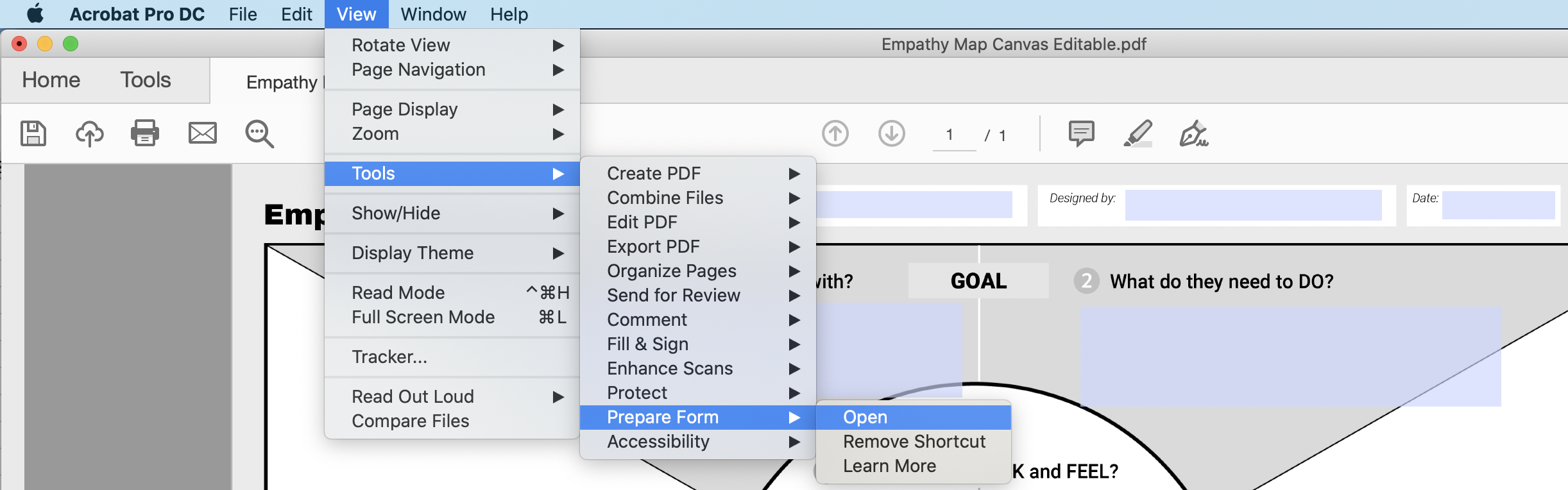 A pictorial representation of the Adobe Acrobat Pro View dropdown menu showing Tool > Prepare form > Open