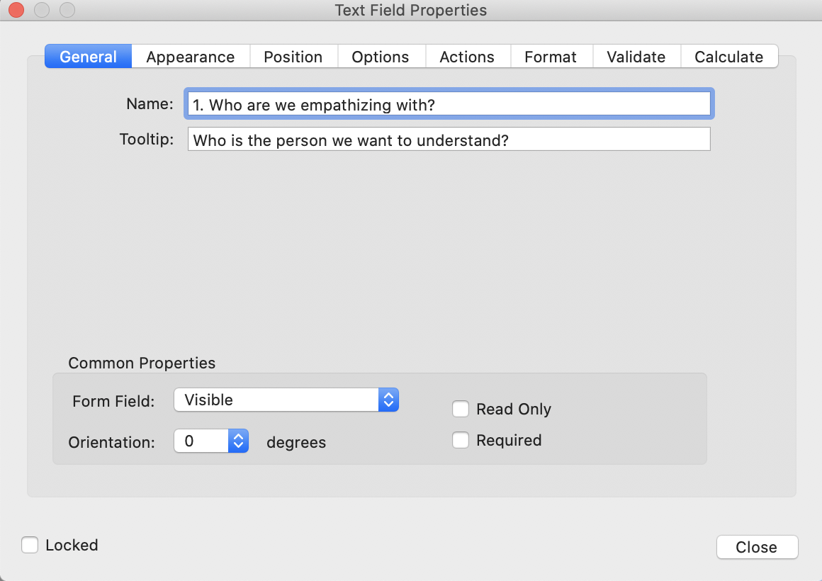 A pictorial representation of the Text Field Properties dialog box