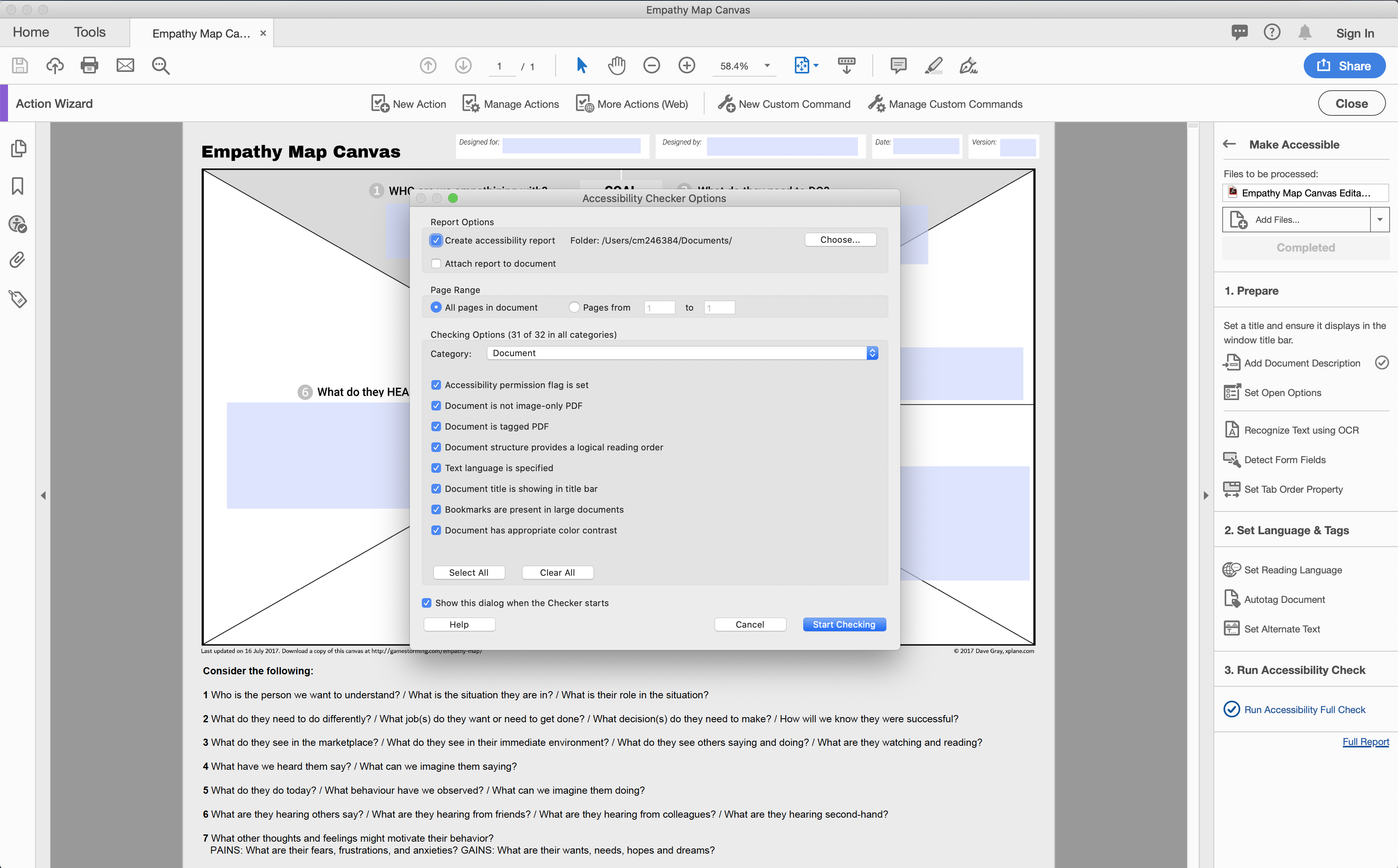 Pictorial representation of the Accessibility Checker Options dialogue box in Adobe Acrobat Pro