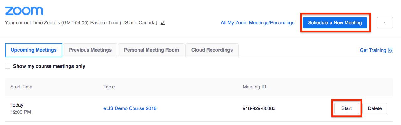 Zoom meeting scheduler screenshot