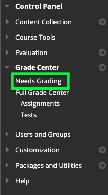 screenshot of Needs Grading link