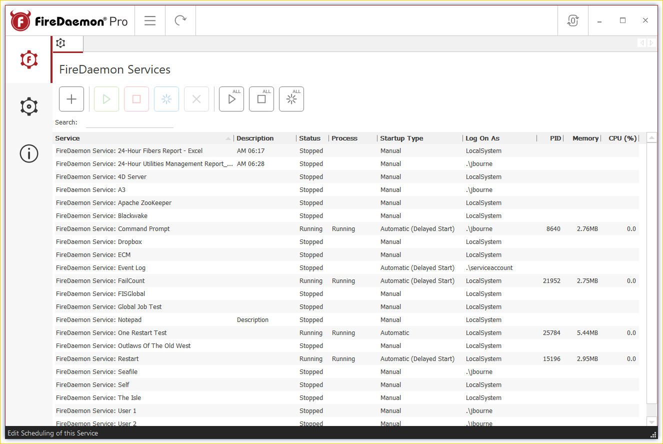 FireDaemon Pro 4.5 - FireDaemon Pro Services