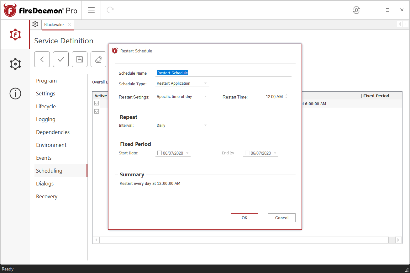 FireDaemon Pro 4.5 - Restart Schedule