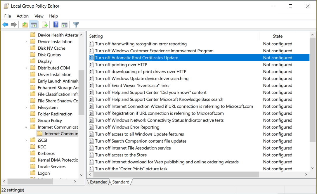 Local Group Policy Editor Turn off Automatric Root Certificates Update