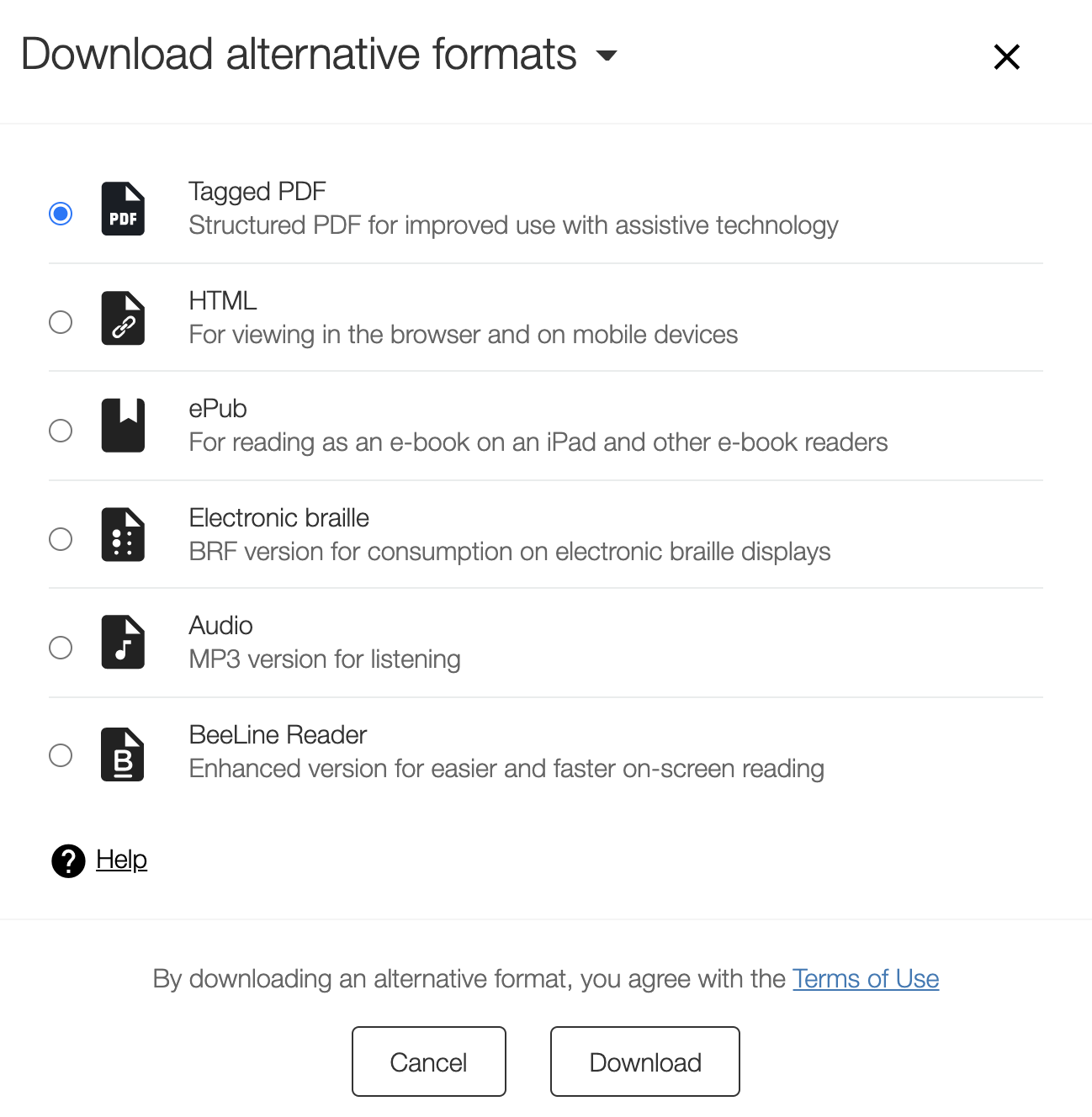 Ally's Download Alternative formats dialog
