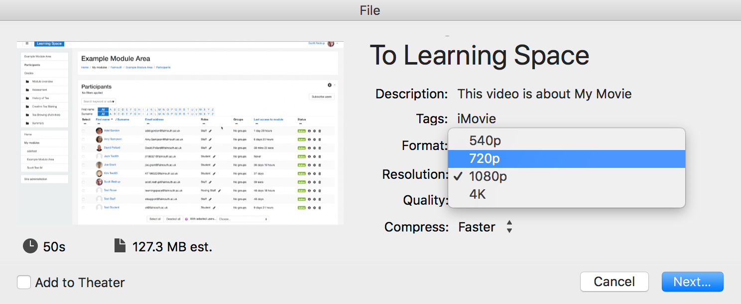 changing the resolution of a video in iMovie.