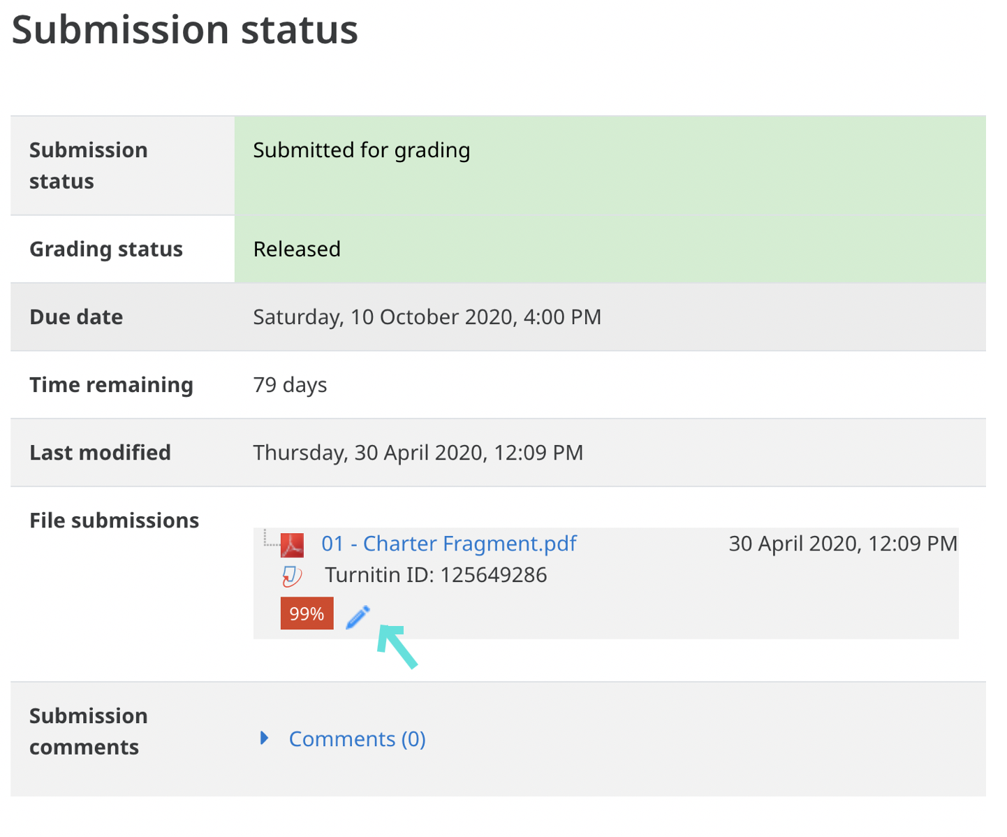 Screen shot showing the location of the pencil icon that leads to Tirnitin Grade Mark feedback