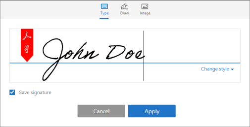 Type, draw, or import a signature image