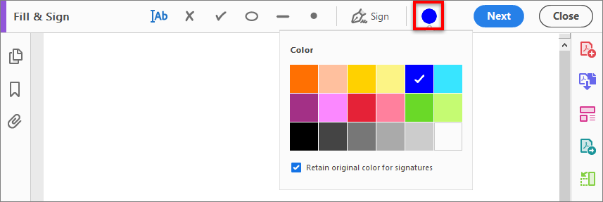Choose color to fill the form