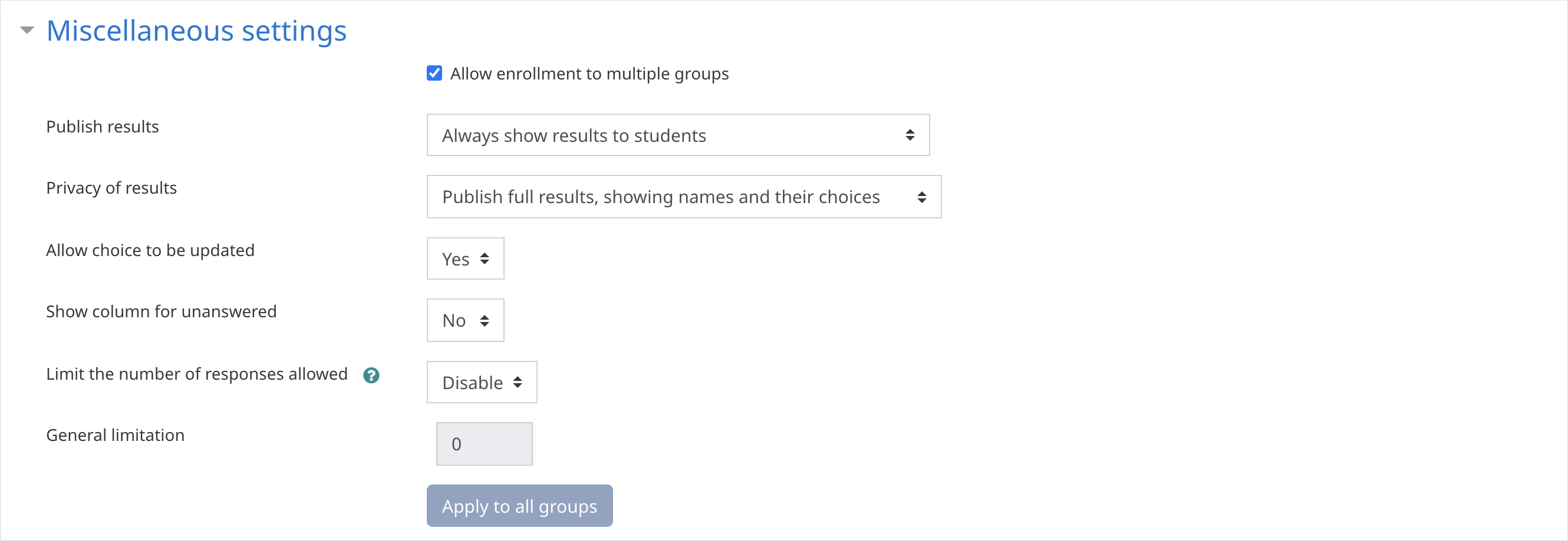 Group Activity settings showing the Miscellaneous settings options