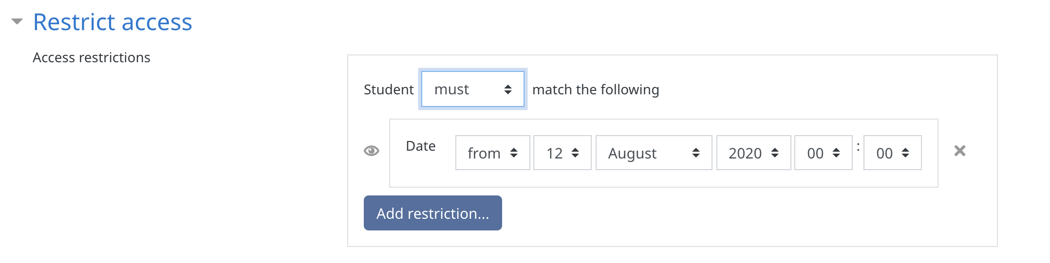 Restrict Access options in the Group Choice Activity settings