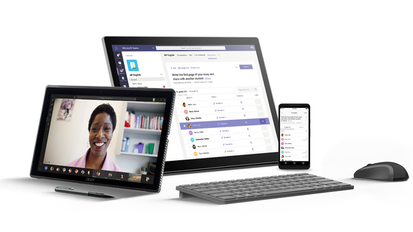Various mobile devices displaying the Microsoft Teams application