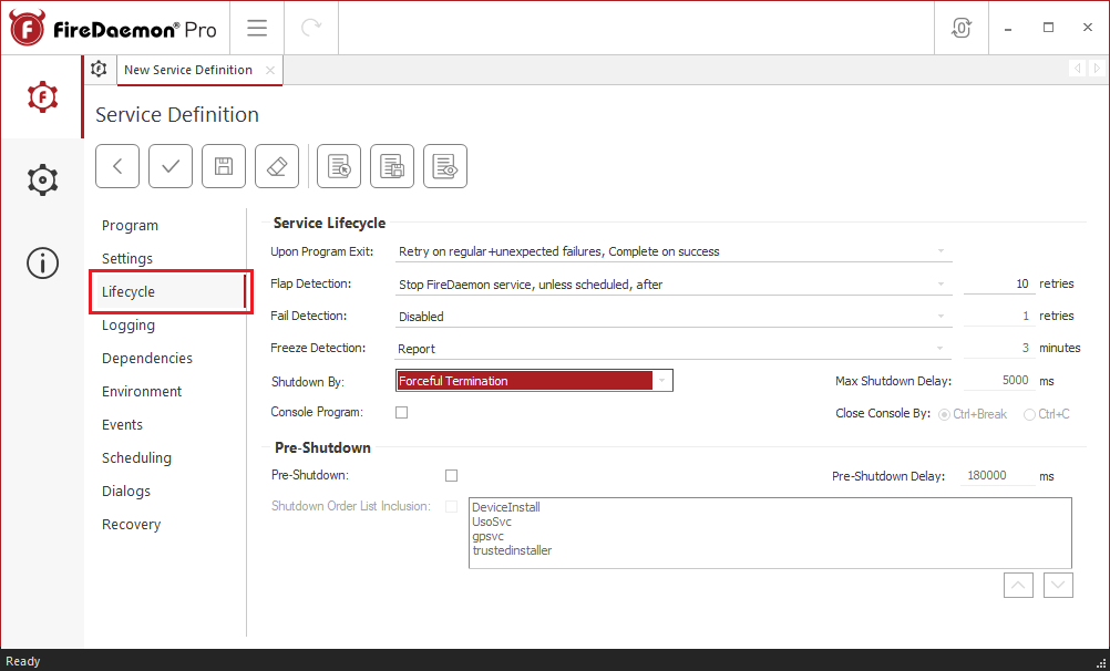 daeMON service definition Lifecycle tab