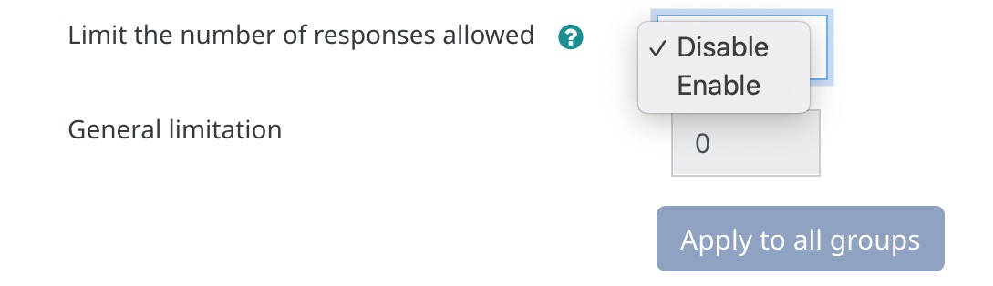Limit the number of responses allowed settings in Group Choice