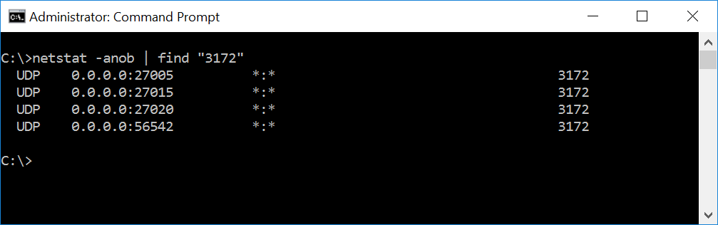 CS:GO Dedicated Server netstat ports example