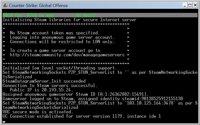CS:GO dedicated server messages window