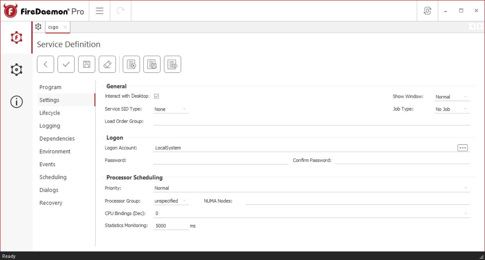 FireDaemon Pro CS:GO service settings