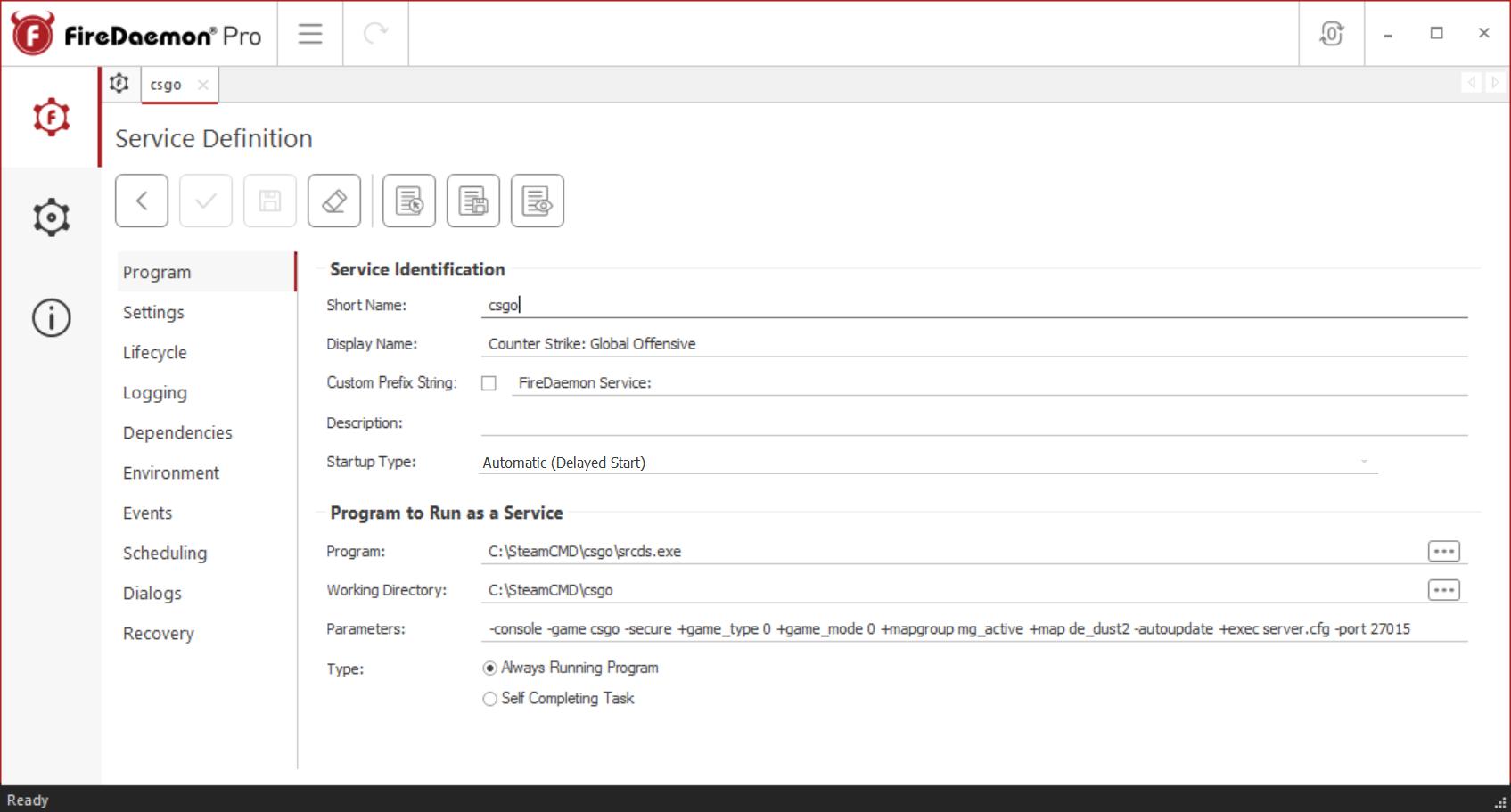 FireDaemon Pro CS:GO Dedicated Server Service Program Tab