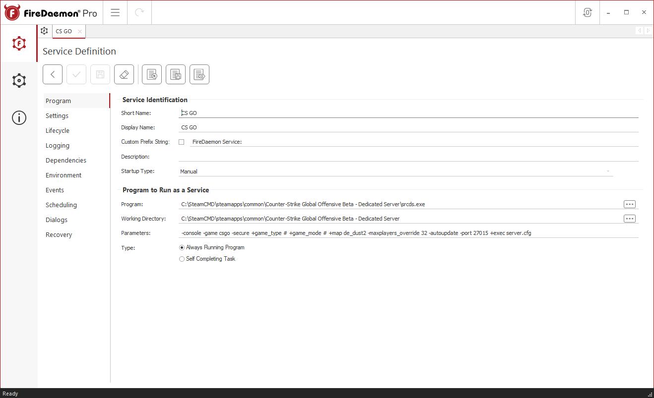 Editing A FireDaemon Pro Service