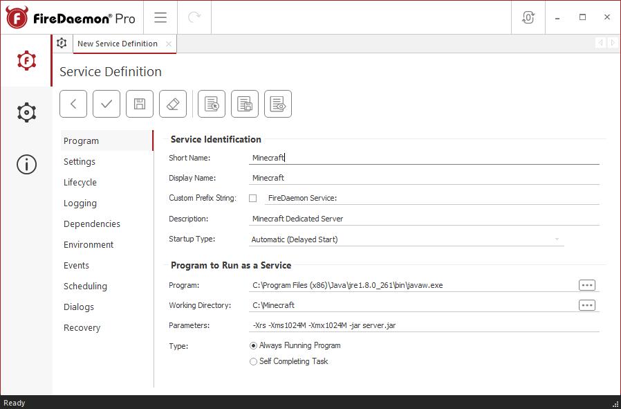 FireDaemon Pro Minecraft service - Program tab