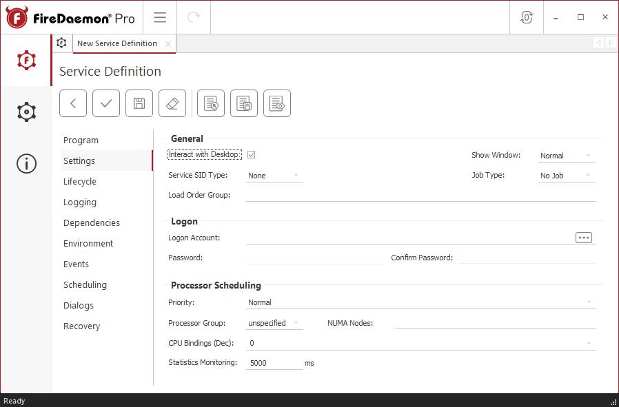 FireDaemon Pro Minecraft service - Settings tab