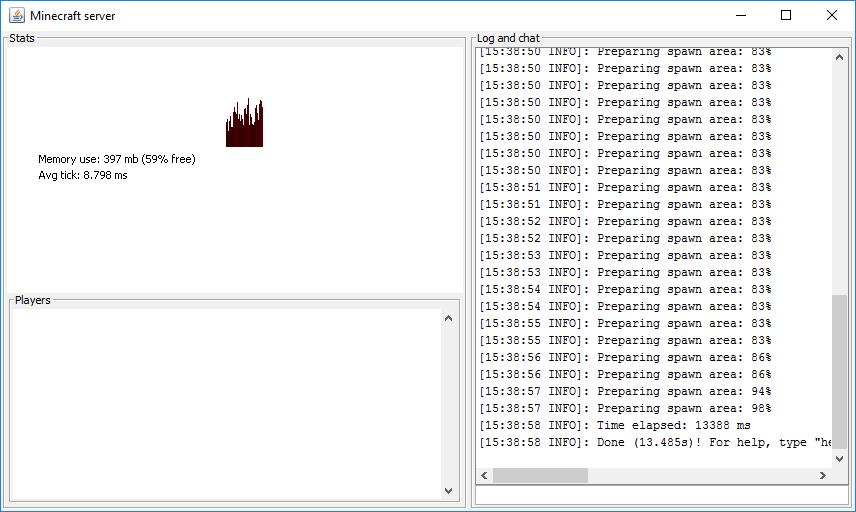 Minecraft Server GUI window