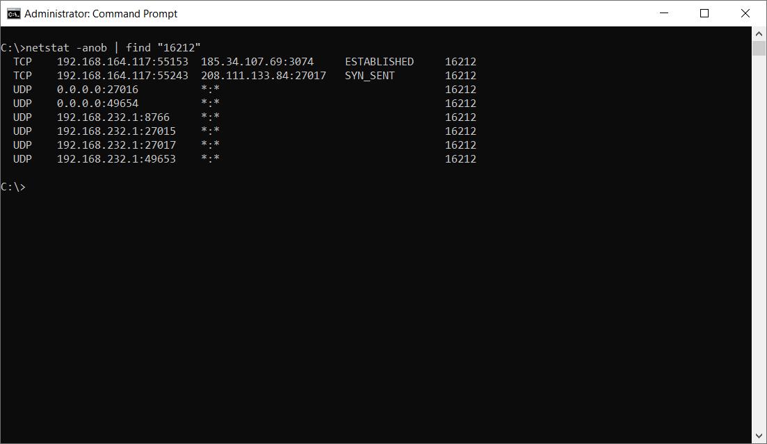 Modern Warfare 3 Server netstat ports example