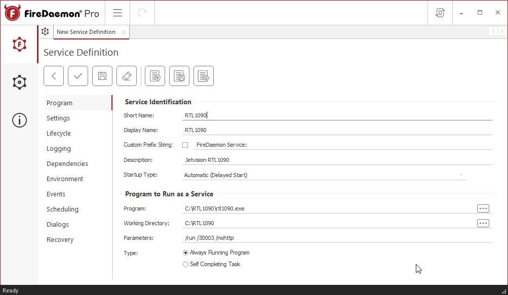 FireDaemon Pro RTL1090 Service Program Tab