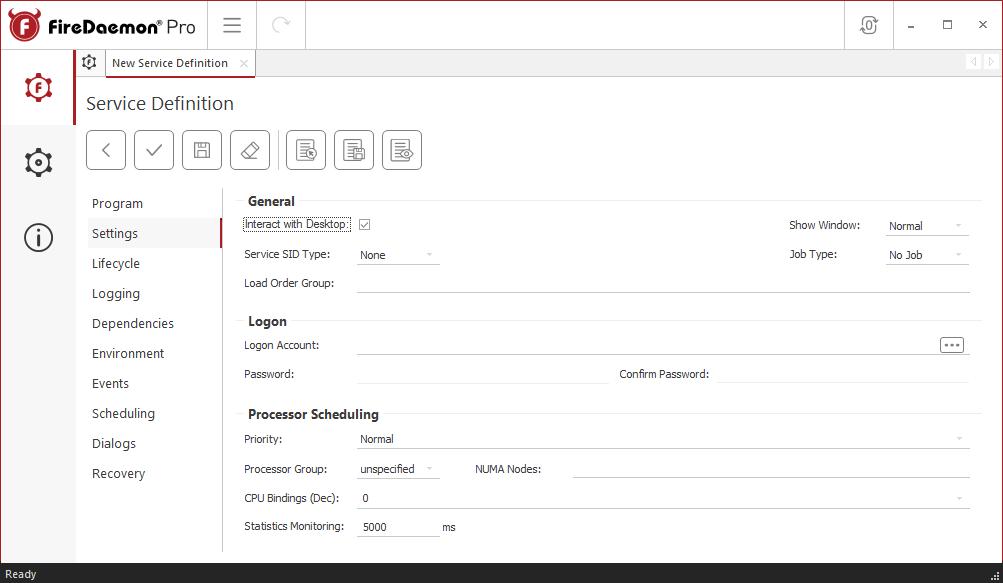 FireDaemon Pro RTL1090 service settings
