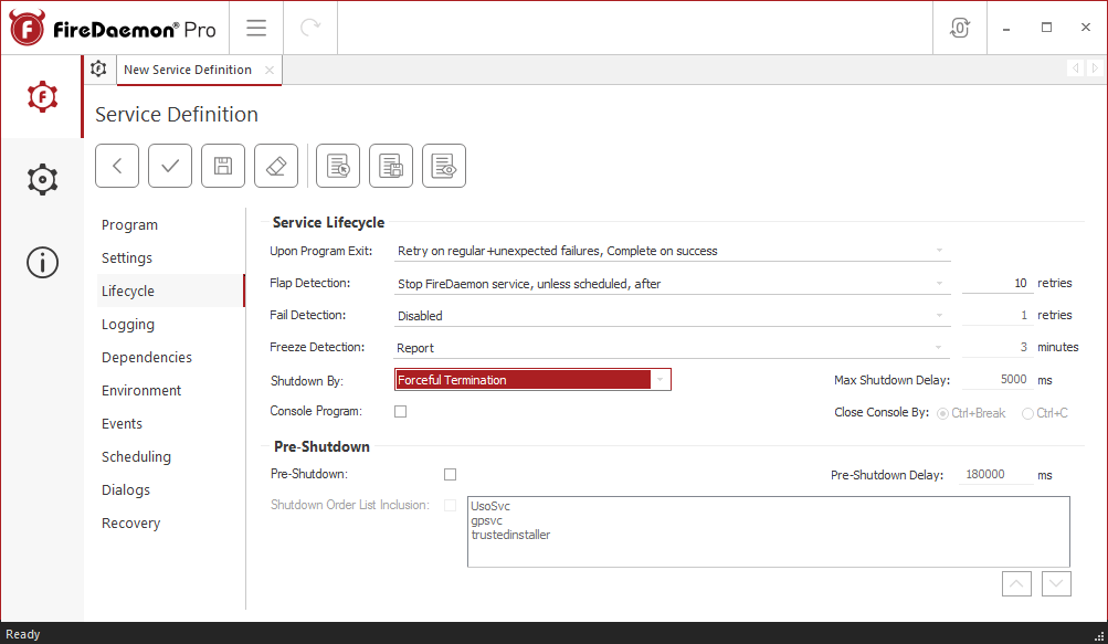 FireDaemon Pro RTL1090 lifecycle settings