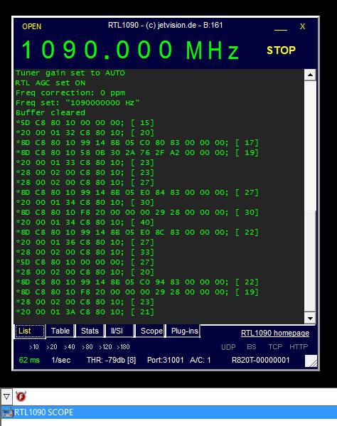 Jetvision RTL1090 program running