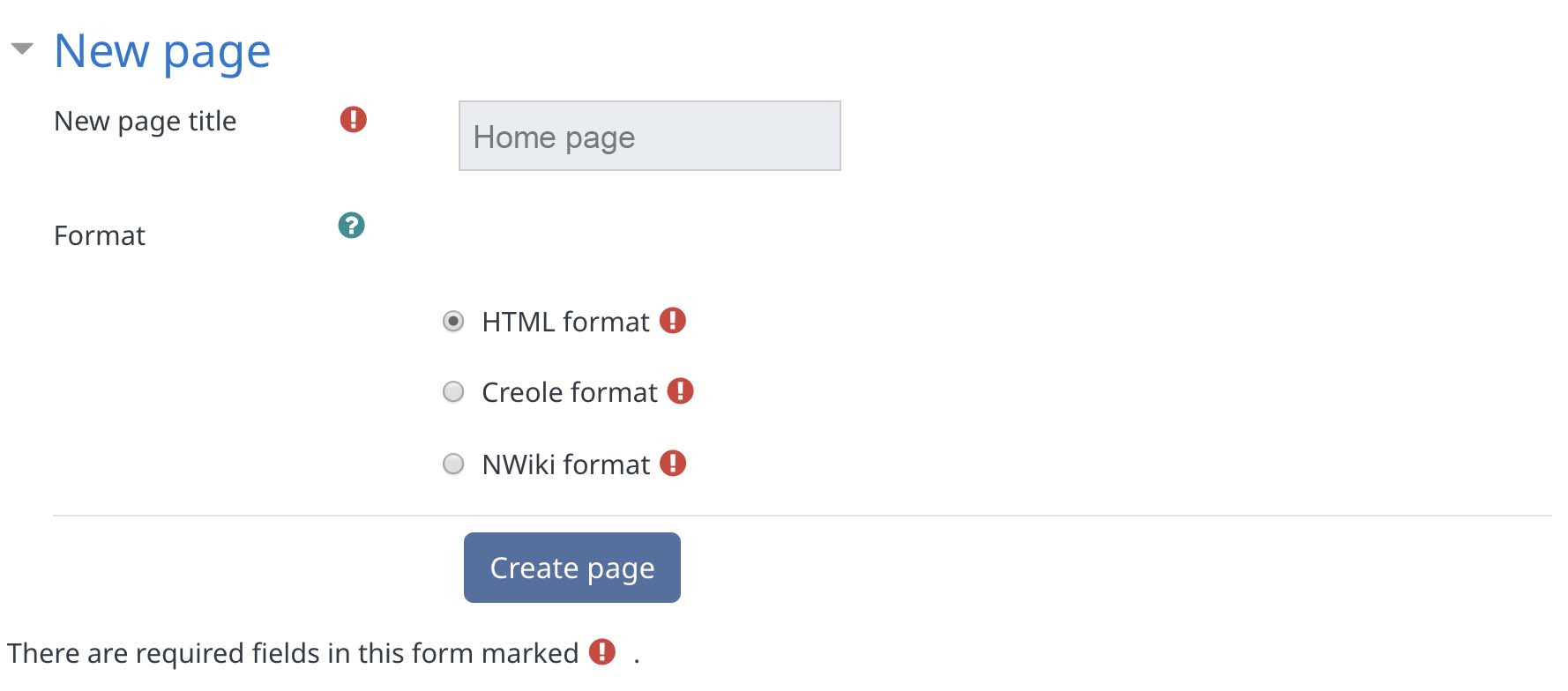 Creating the first page of an individual wiki