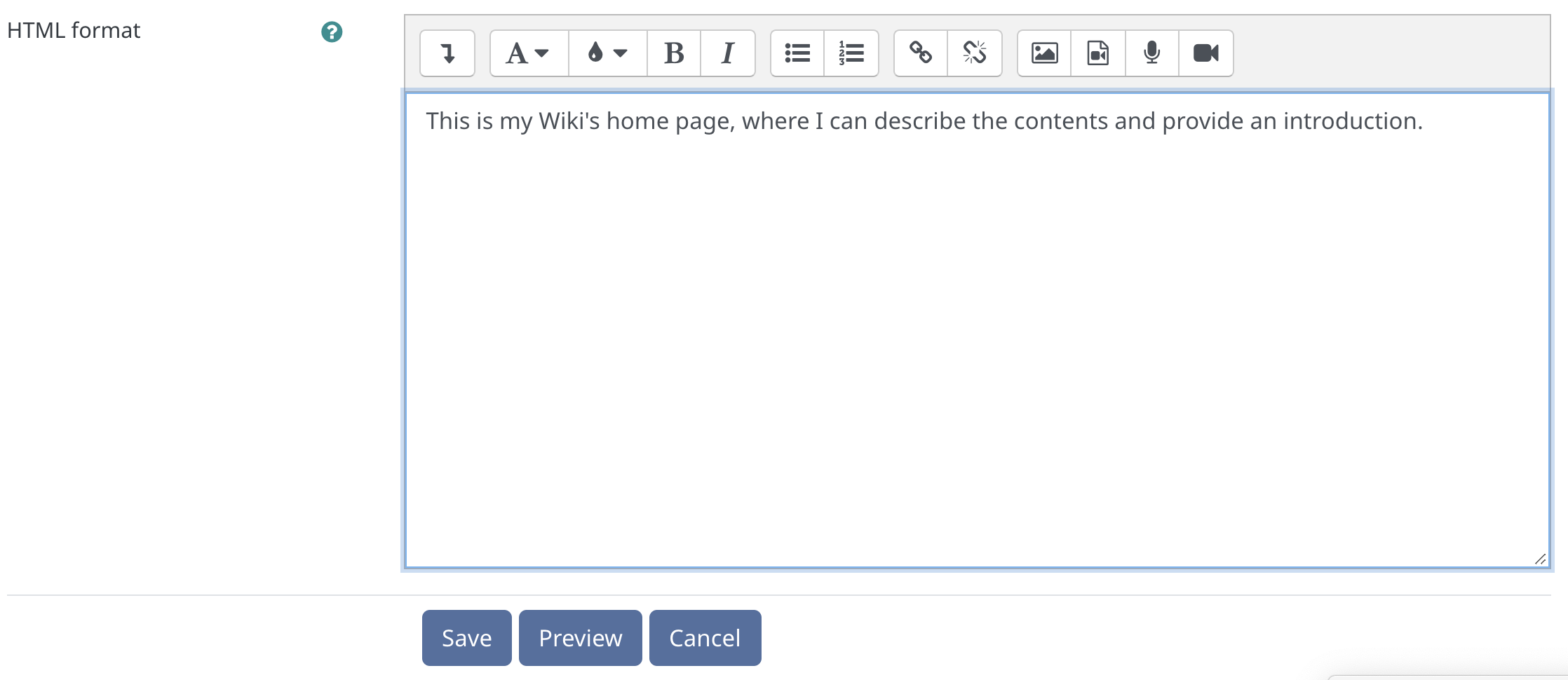 Saving the first page of your wiki