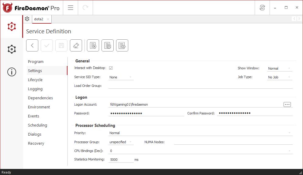 FireDaemon Pro Dota 2 service settings
