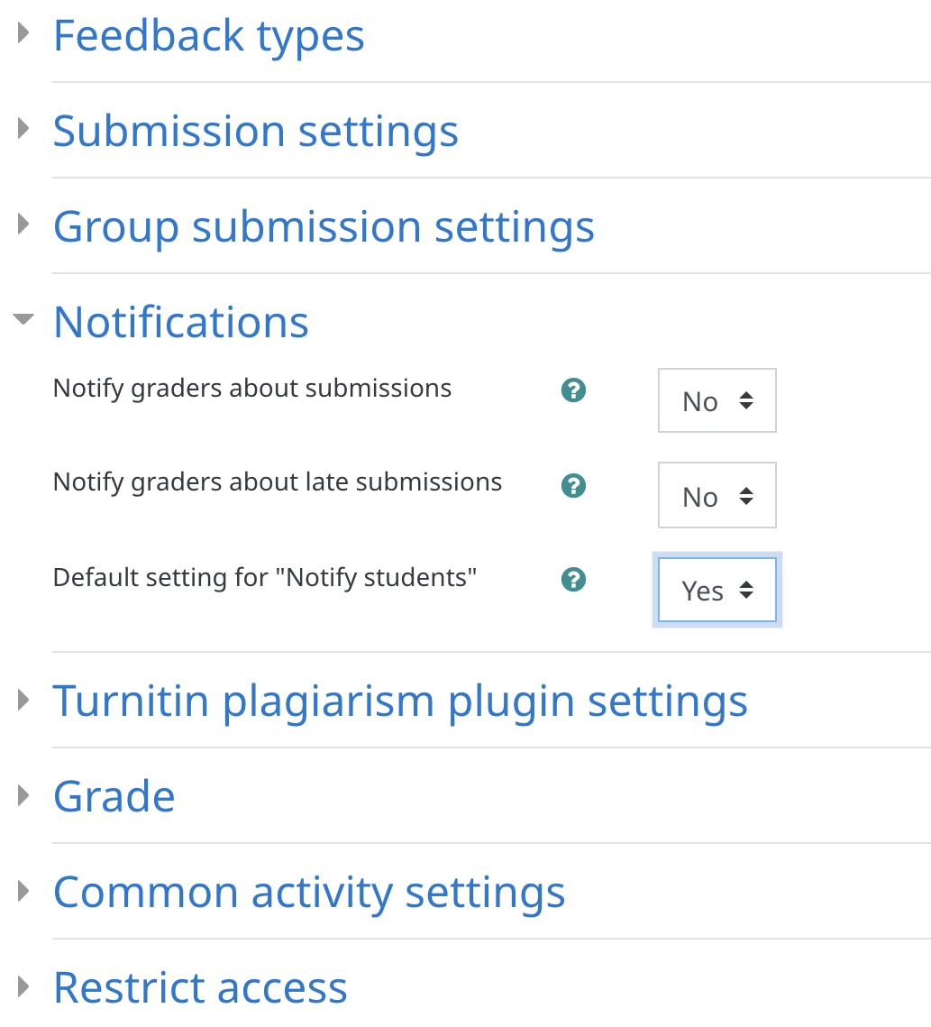 Notifications settings in the Assignment editing panel