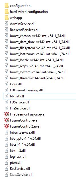 FireDaemon Fusion OEM target installation folder contents