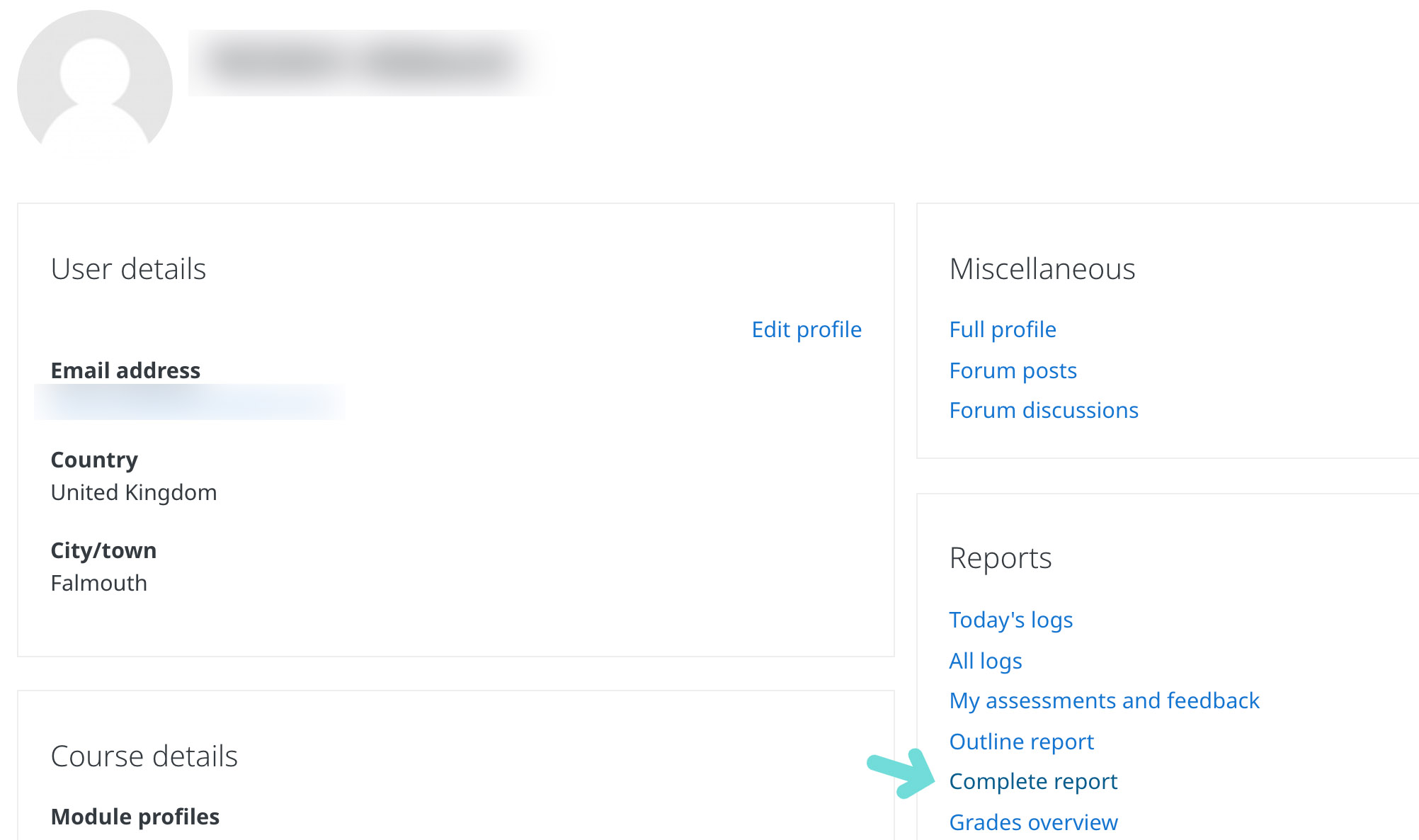 "Screenshot showing where ""Complete report"" can be found"