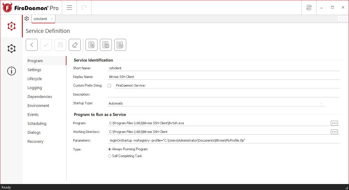 FireDaemon Pro Bitvise SSH Client service settings