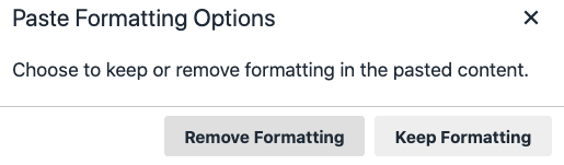 paste formatting options: keep or remove formatting in the pasted content
