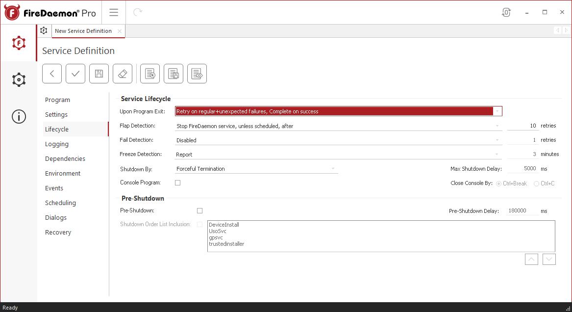 FireDaemon Pro OneDrive lifecycle settings