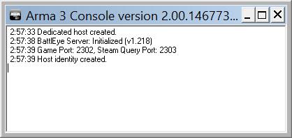 Arma 3 dedicated server messages window