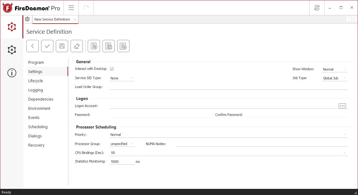 FireDaemon Pro Redis Server service settings