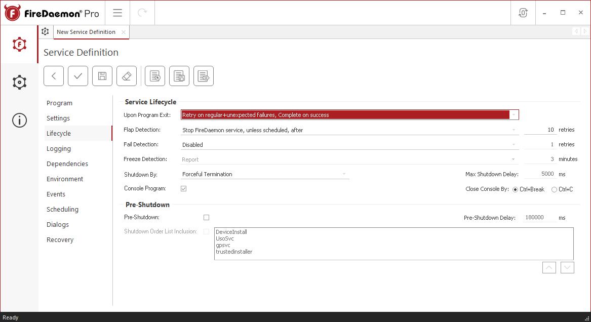 FireDaemon Pro Redis Server lifecycle settings