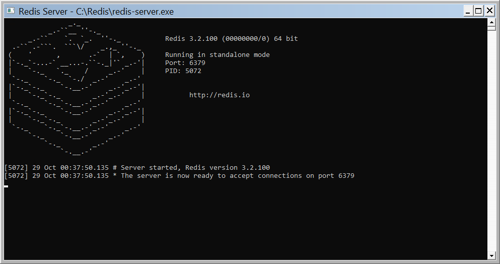 Redis server messages window